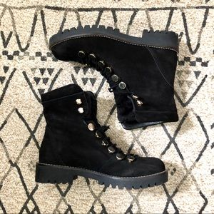 HELIO Leather Lace Up Booties Combat Moto Boots 37